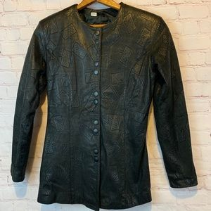 Wilson's Leather embossed leather hip length coat